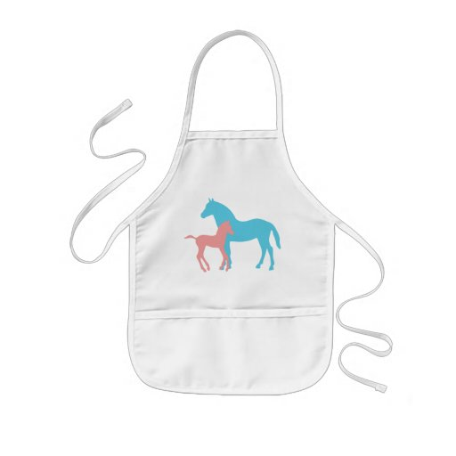 Horse & foal pink & blue silhouette kids apron