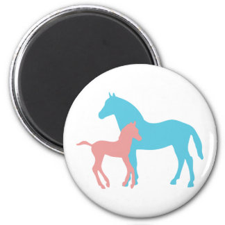 Horse & foal pink & blue silhouette magnet