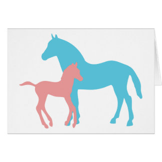 Horse & foal pink & blue silhouette note card