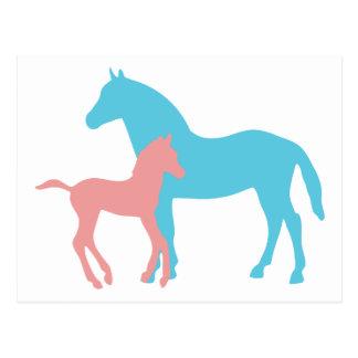 Horse & foal pink & blue silhouette postcard