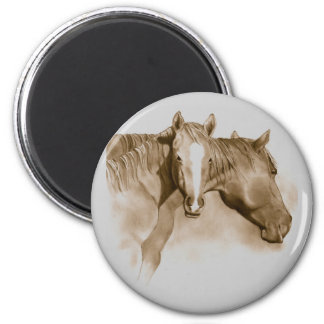 HORSE, FOAL: SEPIA: PENCIL ART 2 INCH ROUND MAGNET