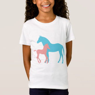 Horse & foal silhouette girls kids childrens tee