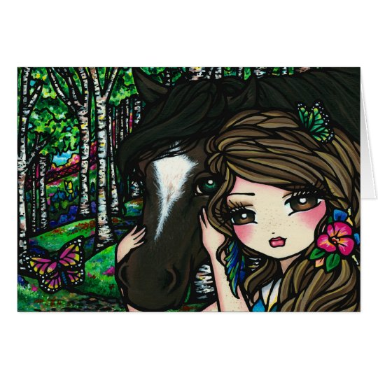 Horse Forest Butterfly Flower Fantasy Fairy Girl Card