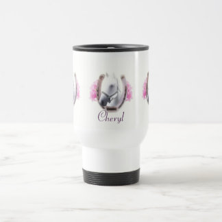 Horse Framed By Horseshoe Personalized Travel Mug