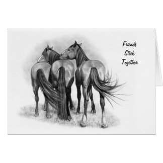 Horse Friendship: Original Pencil Drawing: Realism Card