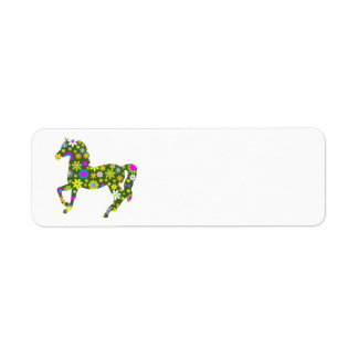 Horse funky floral blank return address labels