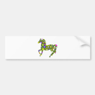 Horse funky retro floral flowers flowery fun bumper sticker