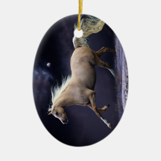horse galloping ceramic oval ornament