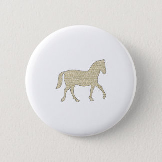 Horse - geometric pattern  - beige and white. 2 inch round button