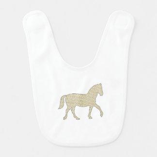 Horse - geometric pattern  - beige and white. bib