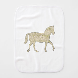 Horse - geometric pattern  - beige and white. burp cloth