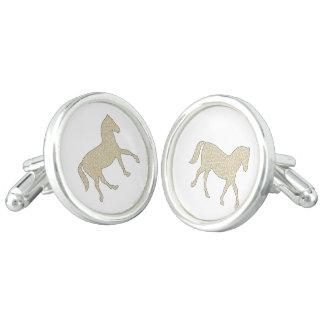 Horse - geometric pattern  - beige and white. cufflinks