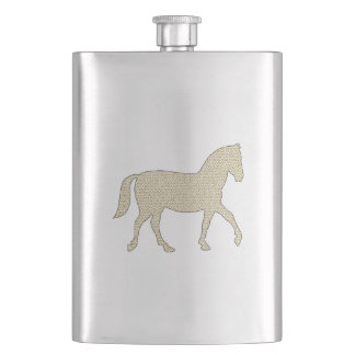 Horse - geometric pattern  - beige and white. hip flask