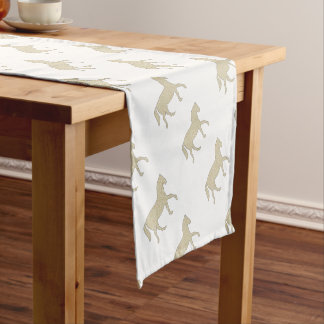 Horse - geometric pattern  - beige and white. short table runner