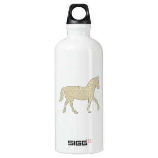 Horse - geometric pattern  - beige and white. water bottle