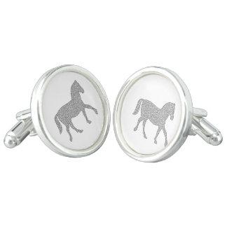 Horse - geometric pattern  - black and white. cuff links