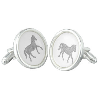 Horse - geometric pattern  - black and white. cufflinks
