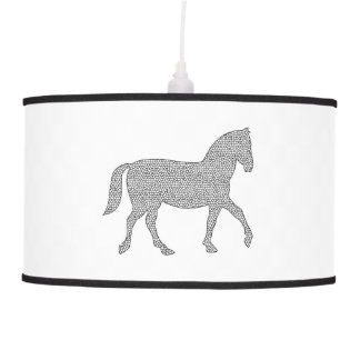 Horse - geometric pattern  - black and white. pendant lamp