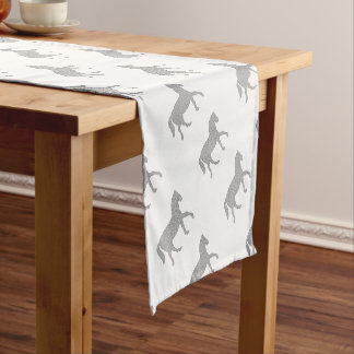 Horse - geometric pattern  - black and white. short table runner