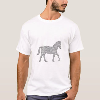 Horse - geometric pattern  - black and white. T-Shirt