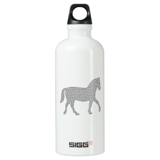 Horse - geometric pattern  - black and white. water bottle