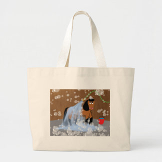 Horse Getting a Bath.tif Large Tote Bag