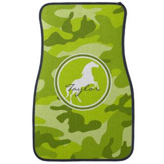 Horse;  green camo, camouflage car mat
