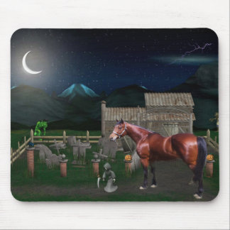 Horse Halloween With Ghoul Friends Mousepad