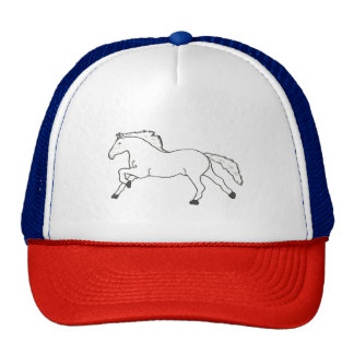 HORSE HAND DRAWN IN BLACK AND WHITE TRUCKER HAT