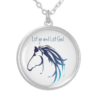Horse Head Animal Inspiring Quote Let Go Let God Silver Plated Necklace