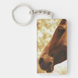 Horse Head in Warm Tones animal photo portrait Double-Sided Rectangular Acrylic Keychain
