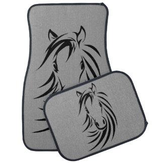 Horse Head on Gray Car Mat