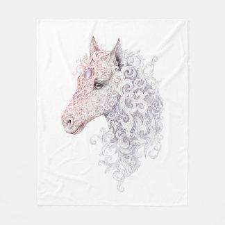 Horse Head Tattoo Fleece Blanket