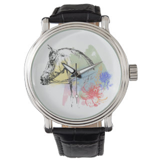 Horse Head Watercolors Wrist Watch