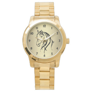 Horse Head with Black Numbers Wrist Watches