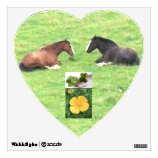 Horse Heart Wall Decal with Lucky Clover & Flower