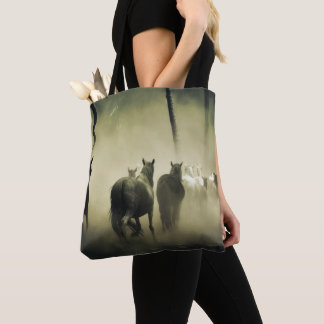 Horse Herd in the Mist Tote Bag