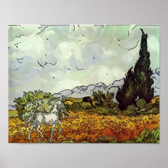 Horse, Homage Van Gogh Poster