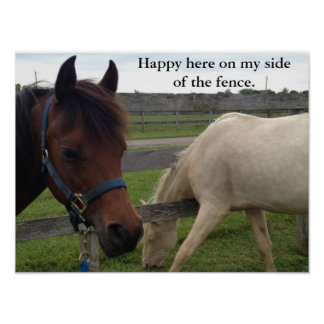 Horse Humor: Happy Here On My Side Of The Fence Poster