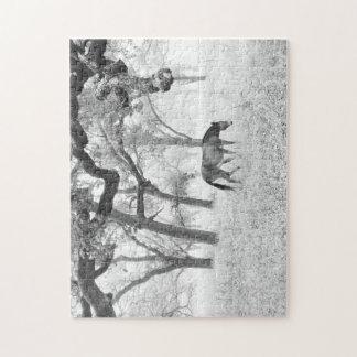 Horse in a Foggy Field of Oaks Jigsaw Puzzle