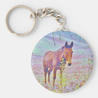 Horse in a Pastel RAINBOW PURPLE FIELD : add name Keychain