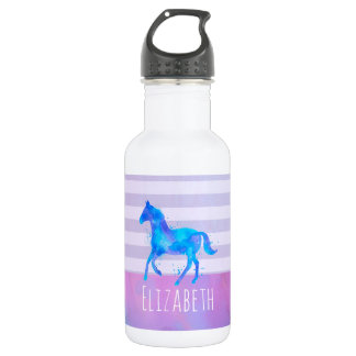 Horse in Blue and Purple Watercolor Personalized 532 Ml Water Bottle