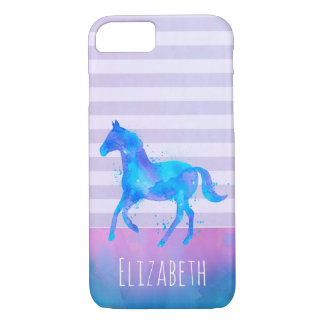 Horse in Blue and Purple Watercolor Personalized iPhone 8/7 Case