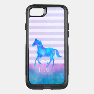 Horse in Blue and Purple Watercolor Personalized OtterBox Commuter iPhone 8/7 Case