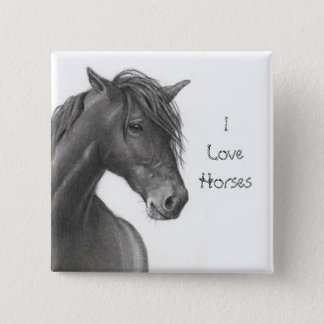 HORSE IN PENCIL: REALISM: HORSE LOVERS 2 INCH SQUARE BUTTON