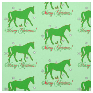 Horse in Silhouette Merry Christmas Fabric