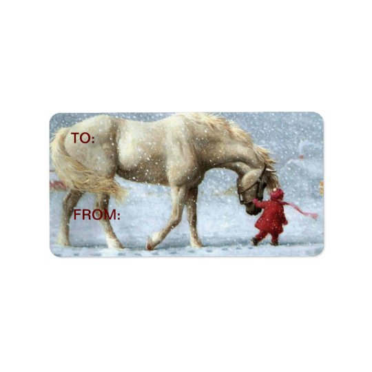 Horse in Snow Gift Stickers