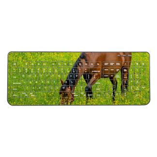 Horse in the Green Meadow Wireless Keyboard