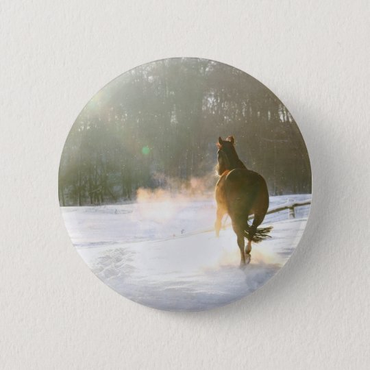 Horse in the snow 2 inch round button