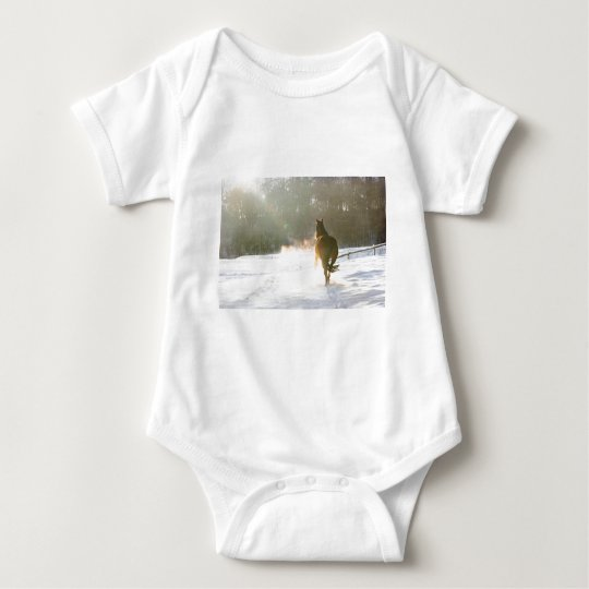 Horse in the snow baby bodysuit